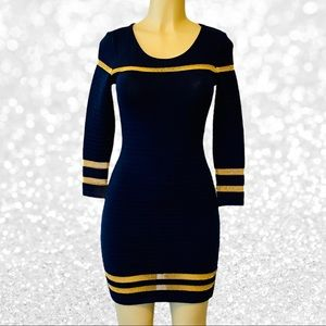 Navy Sweater Mini Dress with Gold Mesh Inserts